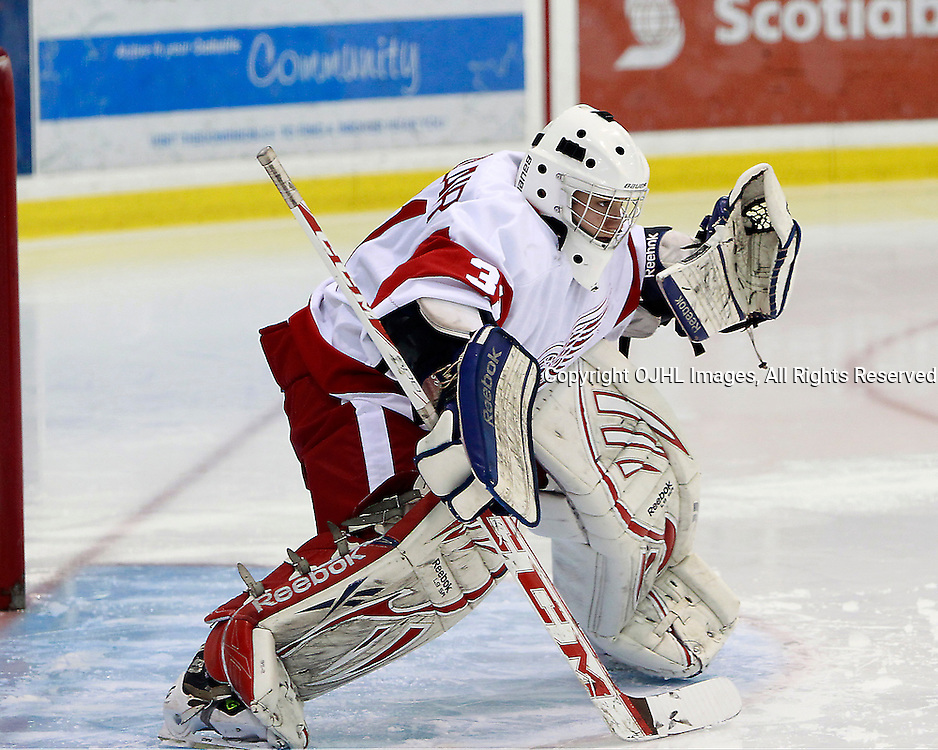 OAKVILLE, ON - Sep 29 : Ontario Junior Hockey League Game Action annual Showcase Tournament. Hamilton vs St.Michael's. Mark Sinclair #31 of the Hamilton Red Wings Hockey Club during first period game action.<br /> (Photo by Tim Bates / OJHL Images)