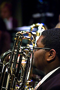 Travis Washington of the Jazz Band awaits his part in Rowan University's 2010 autumn Lab Band & Jazz Band presentation.