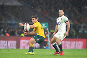 Twickenham, Surrey. UK. during the {L} Nick PHIPPS and Danny CARE, watch, the loose ball. <br /> England VS Australia, Autumn International. Old Mutual Wealth Series. RFU Stadium, Twickenham. UK<br /> <br /> Saturday  18.11.17<br /> <br /> [Mandatory Credit Peter SPURRIER/Intersport Images]