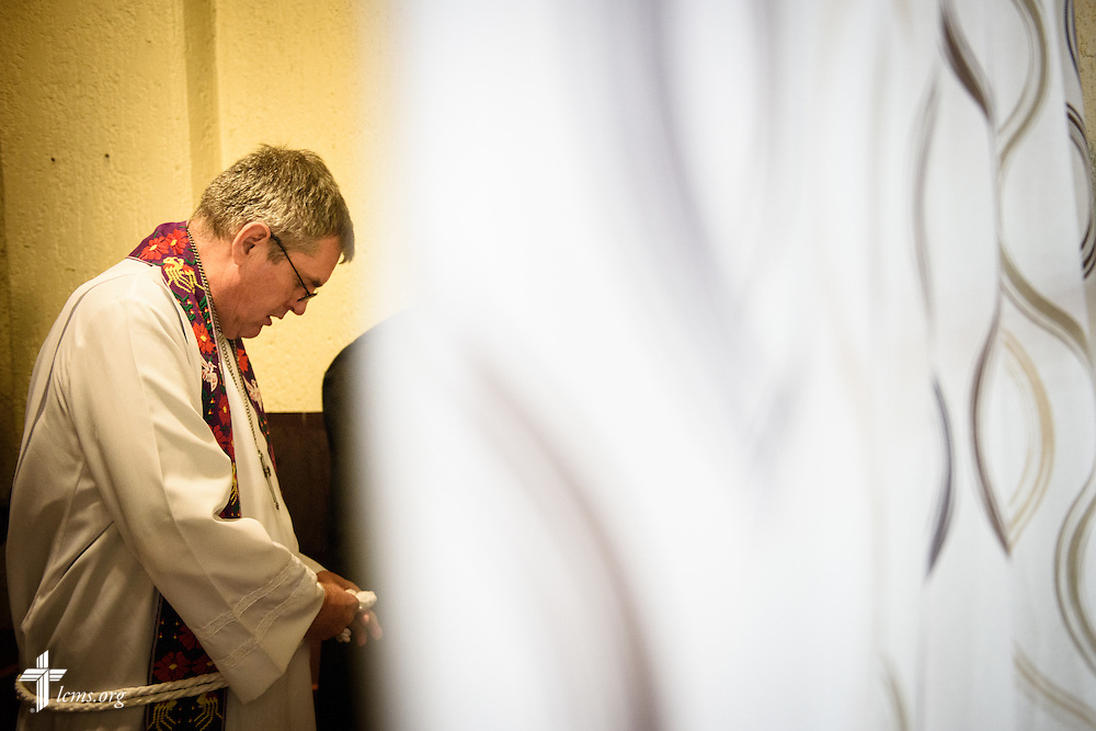 The Rev. Daniel Conrad, LCMS missionary to Mexico, prepares for worship at the Lutheran Church of San Pedro on Sunday, Feb. 14, 2016, in Mexico City, Mexico. LCMS Communications/Erik M. Lunsford