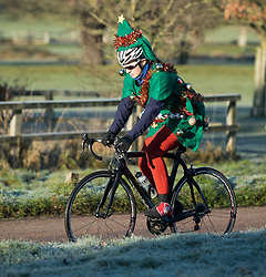 © Licensed to London News Pictures. 16/12/2017. London, UK. A cyclist in a festive Christmas costume in Richmond Park. Parts of the UK are experiencing freezing temperatures today with snow expected in parts. London, UK. Photo credit: Ben Cawthra/LNP