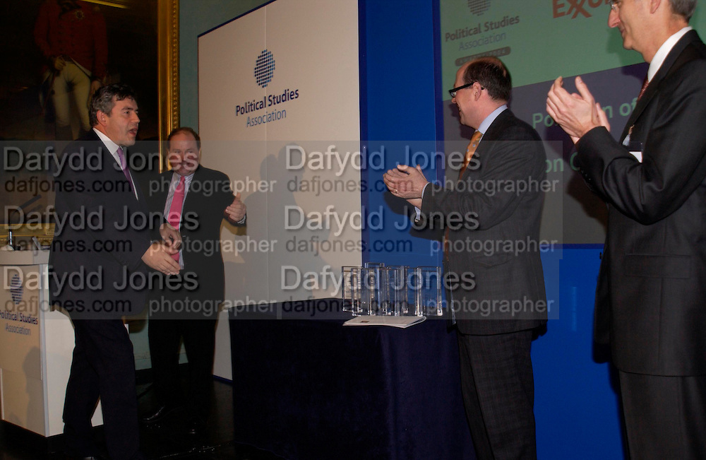 Gordon Brown, Jim Naughtie, Robert Olsen and Nick Robinson, Political Studies Association Awards 2004. Institute of Directors, Pall Mall. London SW1. 30 November 2004.  ONE TIME USE ONLY - DO NOT ARCHIVE  © Copyright Photograph by Dafydd Jones 66 Stockwell Park Rd. London SW9 0DA Tel 020 7733 0108 www.dafjones.com