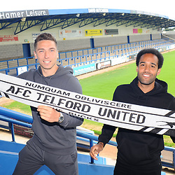TELFORD COPYRIGHT MIKE SHERIDAN  AFC Telford signings Adam Walker and Brendon Daniels at the New Bucks Head Stadium on Friday, June 6, 2020.<br /> <br /> Picture credit: Mike Sheridan/Ultrapress<br /> <br /> MS202021-001