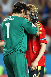 Goalkeeper of Italy Gienluigi Buffon holds Fernando Torres of Spain (9) during the UEFA EURO 2008 Quarter-Final soccer match between Spain and Italy at Ernst-Happel Stadium, on June 22,2008, in Wien, Austria. Spain won after penalty shots 4:2. (Photo by Vid Ponikvar / Sportal Images)