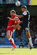 Picture by David Horn/Focus Images Ltd +44 7545 970036.18/08/2012.Mark Phillips (right)  of Southend United wins the ball during the npower League 2 match at Roots Hall, Southend.