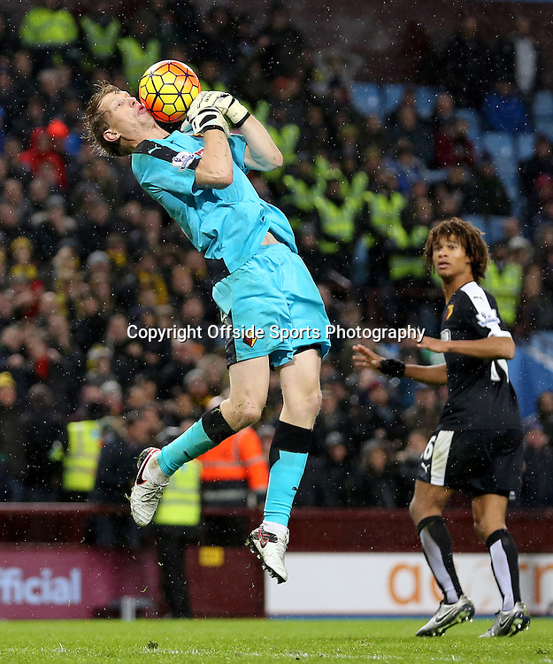28th November 2015 - Barclays Premier League - Aston Villa v Watford -   Giedrius Arlauskis of Watford fumbles the ball under no pressure - Photo: Paul Roberts / Offside.