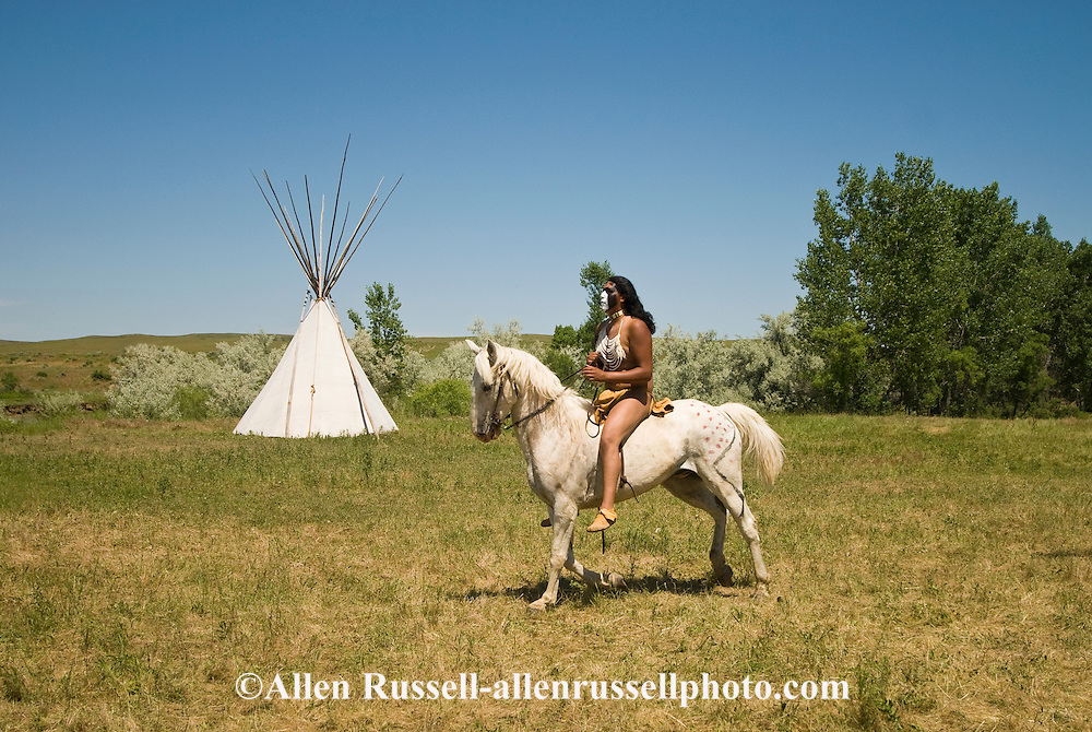 Custers Last Stand Reenactment. Crow Indian Reservation on Little Bighorn River. Warriors defeat Custer and 7th Cavalry. Crow rider