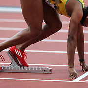 Nickiesha Wilson, Jamaica on the blocks in the Women's 400m Hurdles heats at the Olympic Stadium, Olympic Park, Stratford at the London 2012 Olympic games. London, UK. 5th August 2012. Photo Tim Clayton