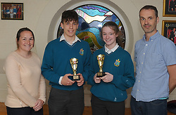 Sancta Maria College Awards 2018<br /> Junior Sports awards Sam Rennick<br /> and Saoirse Lally with teachers Michelle McGing and Cormac McCarthy<br /> Pic Conor McKeown