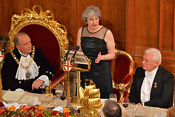 © Licensed to London News Pictures. 13/11/2017. London, UK. British Prime Minister THERESA MAY makes a speech at the annual Lord Mayor's Banquet at Guildhall. Photo credit: Ray Tang/LNP
