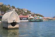 An ancient Lycian tomb in the water<br /> near Kalekoy in the Bay of Kekova<br /> south coast, Turkey<br /> c. Ellen Rooney