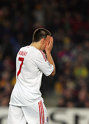 Frank Ribery of Bayern Munich prays before the UEFA Champions League quarter final first leg match between FC Barcelona and FC Bayern Munich at the Camp Nou stadium on April 8, 2009 in Barcelona, Spain.