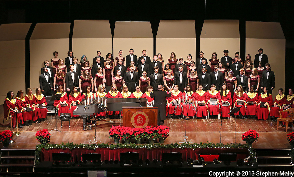 "The Coe College Concert Choir performs ""While All Things Were in Quiet Silence"" during the Coe College Christmas Convocation at Sinclair Auditorium in Cedar Rapids on December 3, 2013. The convocation included songs by the Coe College Chorale, Concert Choir, and Handbell Ensemble, along with readings from the Bible."