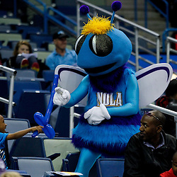 December 17, 2011; New Orleans, LA, USA; New Orleans Hornets mascot Hugo plays with a young fan in the stands during a team scrimmage at the New Orleans Arena.   Mandatory Credit: Derick E. Hingle-US PRESSWIRE