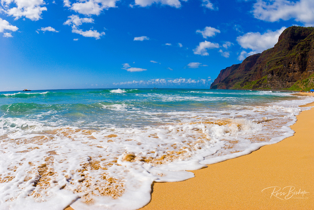 Surf and sand at Polihale Beach, Polihale State Park, Island of Kauai, Hawaii