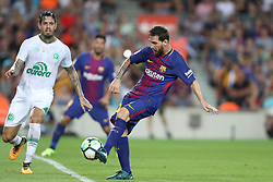 August 7, 2017 - Barcelona, Spain - Lionel Messi of FC Barcelona kicks the ball to score a goal during the 2017 Joan Gamper Trophy football match between FC Barcelona and Chapecoense on August 7, 2017 at Camp Nou stadium in Barcelona, Spain. (Credit Image: © Manuel Blondeau via ZUMA Wire)