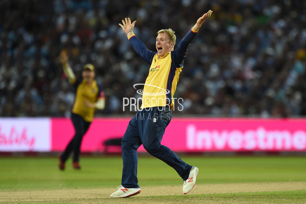 Simon Harmer of Essex Eagles appealing for the wicket of Wayne Parnell during the Vitality T20 Finals Day 2019 match between Worcestershire County Cricket Club and Essex County Cricket Club at Edgbaston, Birmingham, United Kingdom on 21 September 2019.