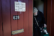 "OHIO, Toledo, October 27, 2012:  A man is seen as he leaves the basement of the ""Primera Iglesia Bautista"" where food and used clothes are distributed to help homeless and people living under the poverty line. ALESSIO ROMENZI"