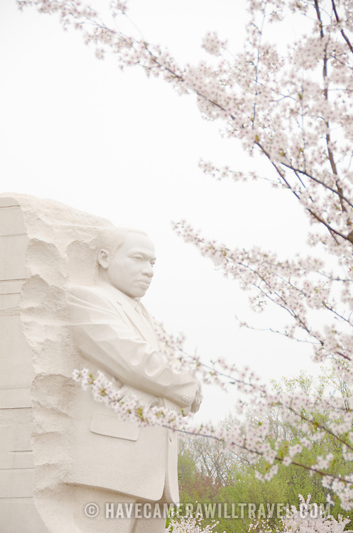 Dedicated on October 16, 2011, the MLK Memorial commemorates Civil Rights leader Dr. Martin Luther King Jr. It falls on a direct line between the Lincoln Memorial and the Jefferson Memorial and situated on the banks of the Tidal Basin. The centerpiece is a stone statue sculpted by Lei Yixin on which the figure of Dr. King emerges from a block of stone called the Stone of Hope. Each spring the cherry blossoms on the tidal basin burst into bloom.