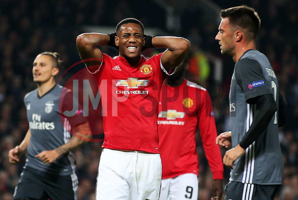 Anthony Martial of Manchester United looks dejected after his penalty is saved by Mile Svilar of Benfica - Mandatory by-line: Matt McNulty/JMP - 31/10/2017 - FOOTBALL - Old Trafford - Manchester, England - Manchester United v Benfica - UEFA Champions League Group A