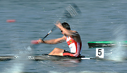 JONAS EMS (GERMANY) COMPETES IN MEN'S K1 RELAY 200 METERS QUALIFICATION RACE DURING 2010 ICF KAYAK SPRINT WORLD CHAMPIONSHIPS ON MALTA LAKE IN POZNAN, POLAND...POLAND , POZNAN , AUGUST 22, 2010..( PHOTO BY ADAM NURKIEWICZ / MEDIASPORT ).