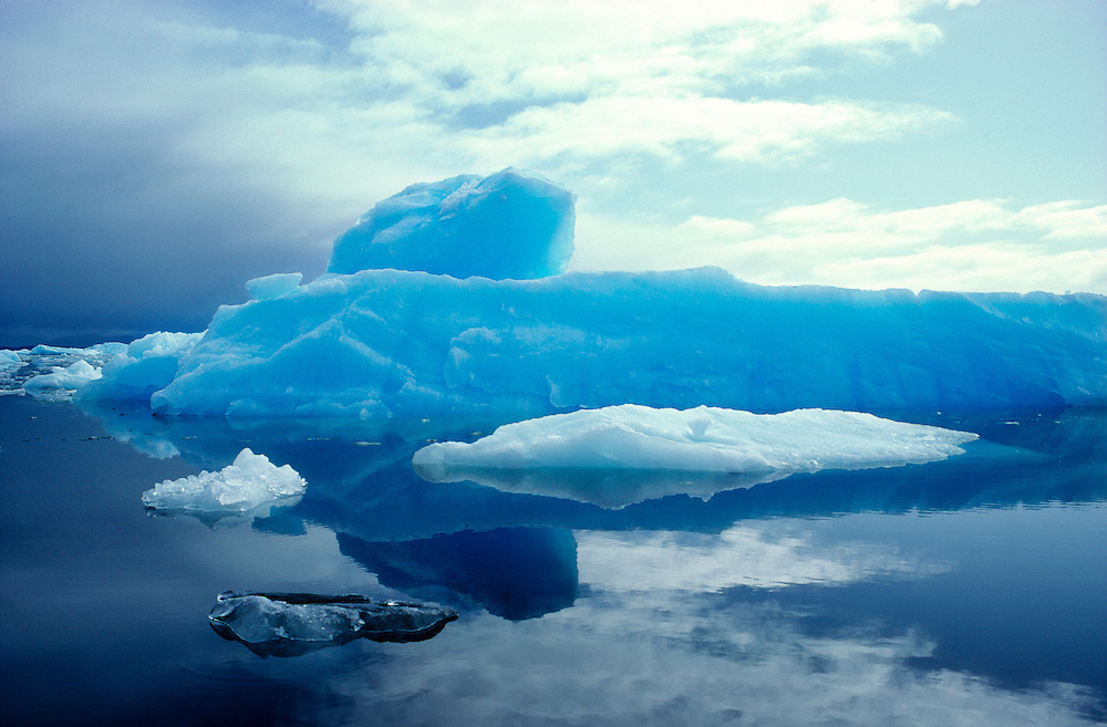 The San Rafael Lagoon, a national  park in southern Chile, is filled with icebergs.