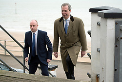 © Licensed to London News Pictures. 28/02/2015. Margate, UK. Nigel Farage arrives at the second day of the conference.  The UKIP spring conference at Margate Winter Gardens 28th February 2015. Photo credit : Stephen Simpson/LNP