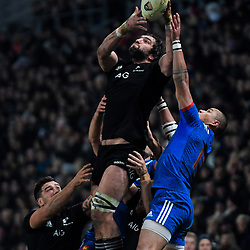 NZ's Sam Whitelock beats France's Gael Fickou to a high ball during the Steinlager Series international rugby match between the New Zealand All Blacks and France at Forsyth Barr Stadium in Wellington, New Zealand on Saturday, 23 June 2018. Photo: Dave Lintott / lintottphoto.co.nz