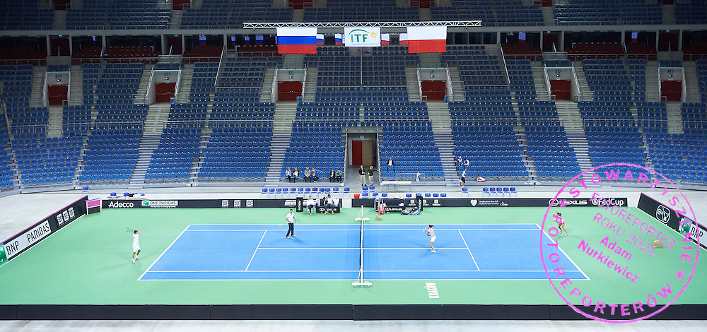 Klaudia Jans Ignacik and Alicja Rosolska both from Poland play tennis during official training session two days before the Fed Cup / World Group 1st round tennis match between Poland and Russia at Krakow Arena on February 5, 2015 in Cracow, Poland.<br /> <br /> Poland, Cracow, February 5, 2015<br /> <br /> Picture also available in RAW (NEF) or TIFF format on special request.<br /> <br /> For editorial use only. Any commercial or promotional use requires permission.<br /> <br /> Adam Nurkiewicz declares that he has no rights to the image of people at the photographs of his authorship.<br /> <br /> Mandatory credit:<br /> Photo by &copy; Adam Nurkiewicz / Mediasport