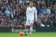 Chris Smalling of Manchester United during the Barclays Premier League match between Crystal Palace and Manchester United at Selhurst Park, London, England on 31 October 2015. Photo by Ellie Hoad.