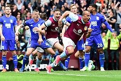 Paul Robinson of Birmingham City appears to lash out at James Chester of Aston Villa as Gabriel Agbonlahor of Aston Villa celebrates  his goal  - Mandatory by-line: Joe Meredith/JMP - 23/04/2017 - FOOTBALL - Villa Park - Birmingham, England - Aston Villa v Birmingham City - Sky Bet Championship