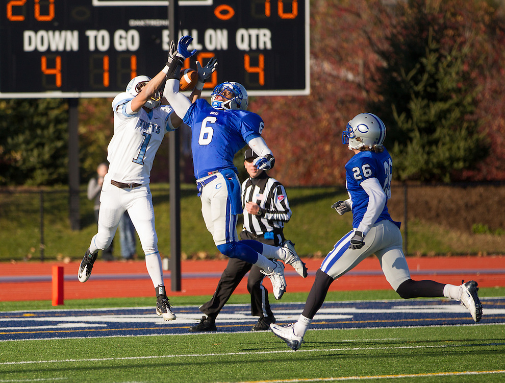 Derrick Beasley, of Colby College, deflects a pass intended for Mike Howell, of Tufts University, in an NCAA Division III college football game at Seaverns Field at Harold Alfond Stadium, Saturday Nov. 5, 2011 in Waterville, ME.  (Dustin Satloff/Colby College Athletics)