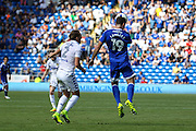 Rickie Lambert of Cardiff City heads the ball down during the EFL Sky Bet Championship match between Cardiff City and Leeds United at the Cardiff City Stadium, Cardiff, Wales on 17 September 2016. Photo by Andrew Lewis.