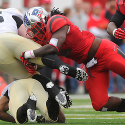 10 November 2012: Rutgers Scarlet Knights linebacker Khaseem Greene (20) tackles Army Black Knights full back Hayden Tippett (45) during NCAA college football action between the Rutgers Scarlet Knights and Army Black Knights at High Point Solutions Stadium in Piscataway, N.J..
