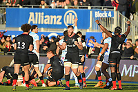 Rugby Union - 2019 / 2020 European Rugby Heineken Champions Cup - Pool Four: Saracens vs. Racing 92<br /> <br /> Saracens' George Kruis celebtrates at the final whistle after their 27-24 victory, at Allianz Park.<br /> <br /> COLORSPORT/ASHLEY WESTERN