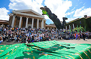 CAPE TOWN, SOUTH AFRICA - OCTOBER 15 2015, Anaso Jobodwana, World 200m bronze medallist, dives through the air during the Springbok 7's Try Dive competition at the University of Cape Town's Jameson Plaza for the Cape Town 7s taking place at Cape Town Stadium on12&amp;13 December 2015.<br /> Photo by Roger Sedres/ImageSA