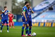 Wigan Athletic defender Charlie Mulgrew (16) lines up his free kick during the EFL Sky Bet Championship match between Wigan Athletic and Nottingham Forest at the DW Stadium, Wigan, England on 20 October 2019.