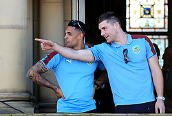Burnley's Andre Gray and Sam Vokes - Mandatory by-line: Matt McNulty/JMP - 09/05/2016 - FOOTBALL - Burnley Town Hall - Burnley, England - Burnley FC Championship Trophy Presentation