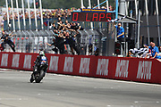#12 Maverick Vinales, Spanish: Movistar Yamaha crosses the line to win during the Motul Dutch TT MotoGP, TT Circuit, Assen, Netherlands on 30 June 2019.