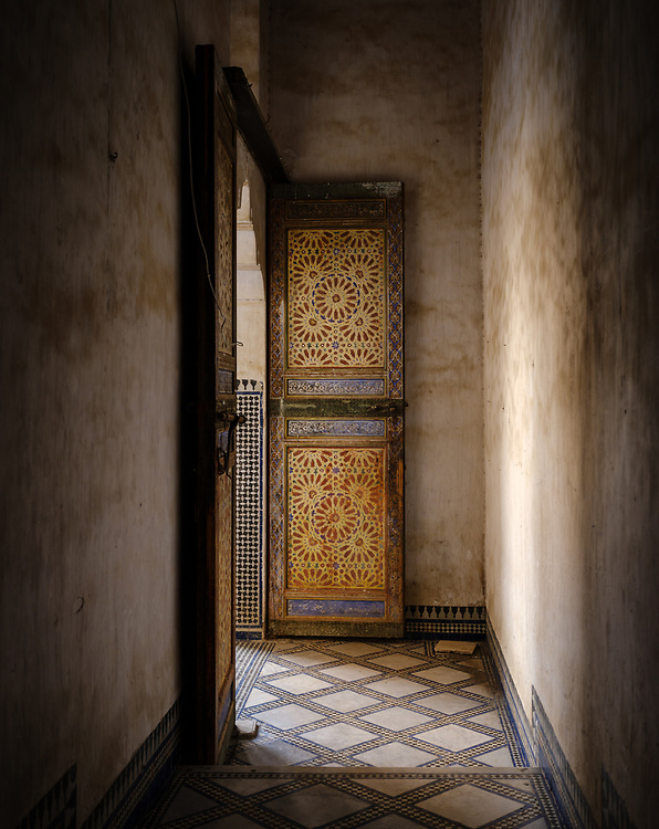 FEZ, MOROCCO - CIRCA APRIL 2017:  Old hallway in a Moroccan palace