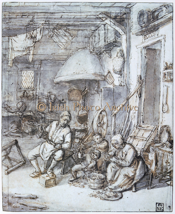 Dutch Peasant Family' Pen, brown ink, grey and brown wash. Adrien van Ostade (1610-1685) Dutch painter and draughtsman.  Domestic Interior M other Father Parent Child Fire Cooking Pot Food Preparation