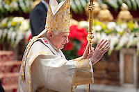 Pope Benedict XVI blesses the faithful as he leaves mass celebrated for the Solemnnity of Mary the Mother of God.