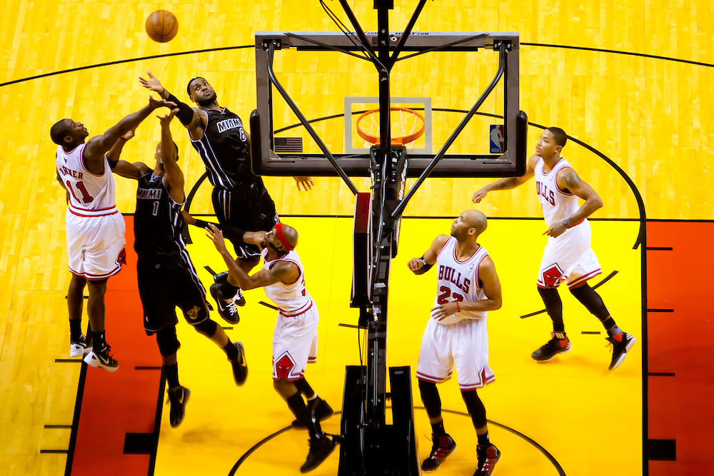 MIAMI, FL -- January 29, 2012 -- Miami's LeBron James reaches for a rebound during the Heat's 97-93 win over the Chicago Bulls at American Airlines Arena in Miami, Fla., on Sunday, January 29, 2012.  (Chip Litherland for ESPN the Magazine)