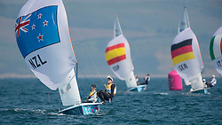 10.08.2012, Bucht von Weymouth, GBR, Olympia 2012, Segeln, im Bild Aleh Jo, Powrie Olivia, (NZL, 470 Women).Belcher Friederike, Kadelbach Kathrin, (GER, 470 Women) // during Sailing, at the 2012 Summer Olympics at Bay of Weymouth, United Kingdom on 2012/08/10. EXPA Pictures © 2012, PhotoCredit: EXPA/ Juerg Kaufmann ***** ATTENTION for AUT, CRO, GER, FIN, NOR, NED, .POL, SLO and SWE ONLY!