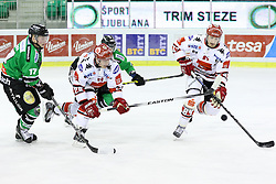 27.02.2015, Hala Tivoli, Ljubljana, SLO, EBEL, HDD Telemach Olimpija Ljubljana vs HC TWK Innsbruck, 6. Qualification Round, in picture Marcus Olsson (HC TWK Innsbruck, #20) and Stefan Pittl (HC TWK Innsbruck, #84) during the Erste Bank Icehockey League 6. Qualification Round between HDD Telemach Olimpija Ljubljana and HC TWK Innsbruck at the Hala Tivoli, Ljubljana, Slovenia on 2015/02/27. Photo by Morgan Kristan / Sportida