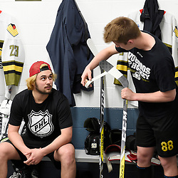 "TRENTON, ON  - MAY 3,  2017: Canadian Junior Hockey League, Central Canadian Jr. ""A"" Championship. The Dudley Hewitt Cup. Game 3 between Powassan Voodoos and the Dryden GM Ice Dogs.  Tyson Gilmour #23 and  Brett Hahkala #18 of the Powassan Voodoos before the pregame warm-up.<br /> (Photo by Andy Corneau / OJHL Images)"