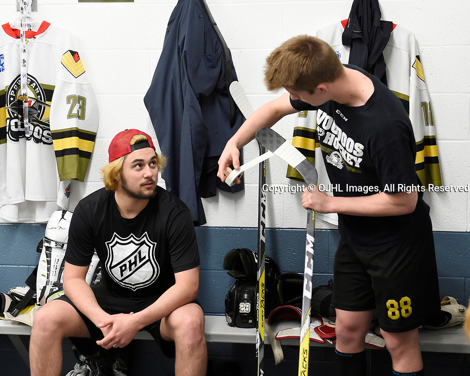 TRENTON, ON  - MAY 3,  2017: Canadian Junior Hockey League, Central Canadian Jr. &quot;A&quot; Championship. The Dudley Hewitt Cup. Game 3 between Powassan Voodoos and the Dryden GM Ice Dogs.  Tyson Gilmour #23 and  Brett Hahkala #18 of the Powassan Voodoos before the pregame warm-up.<br /> (Photo by Andy Corneau / OJHL Images)