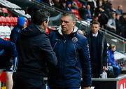 Fleetwood Town Manager Joey Barton and Shrewsbury Town's Manager John Askey shake hands during the EFL Sky Bet League 1 match between Fleetwood Town and Shrewsbury Town at the Highbury Stadium, Fleetwood, England on 13 October 2018.