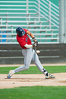 KELOWNA, BC - JULY 16: Dalton Harum #4 of the Wenatchee Applesox hits the ball against the the Kelowna Falcons at Elks Stadium on July 16, 2019 in Kelowna, Canada. (Photo by Marissa Baecker/Shoot the Breeze)