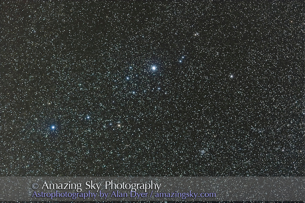 Perseus OB Association, with NGC 1245 cluster at lower right, with 135mm Canon L-lens at f/2.8 and Canon 20Da camera at ISO 800 for stack of 4 x 3 minute exposures. Taken Sept. 8, 2007. Slightly soft focus. Simulates binocular field. Glow layer added to accentuate stars.
